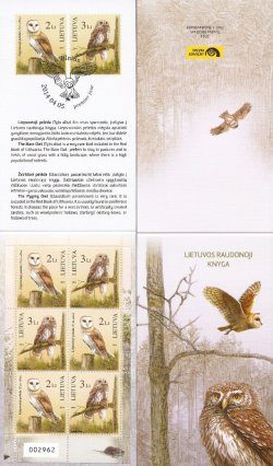 Lithuania. 2014 Owls (Tyto alba), (Glaucidium passerinum). Limited edition booklet with 3 sets (5000 ex. only!)